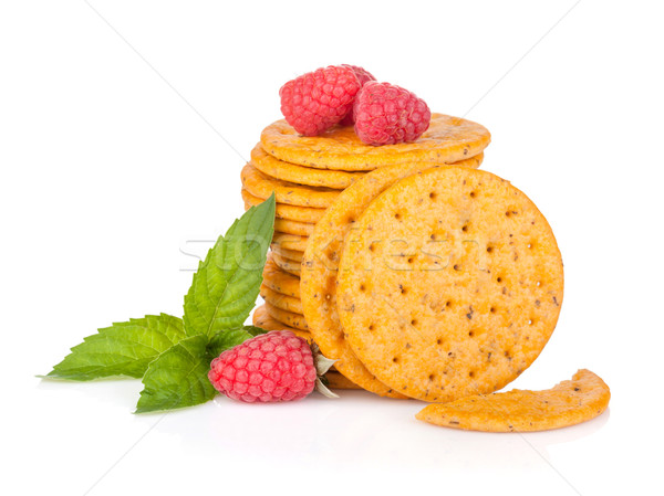Stack of crackers with mint and berries Stock photo © karandaev