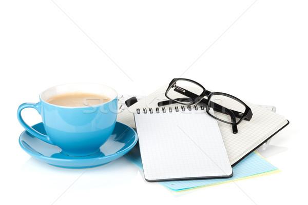 ストックフォト: 青 · コーヒーカップ · 眼鏡 · 事務用品 · 孤立した · 白