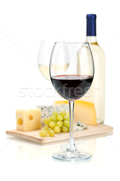 Stock photo: Wine, cheese and grapes