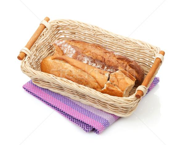 Házi készítésű francia kenyér izolált fehér papír étel Stock fotó © karandaev