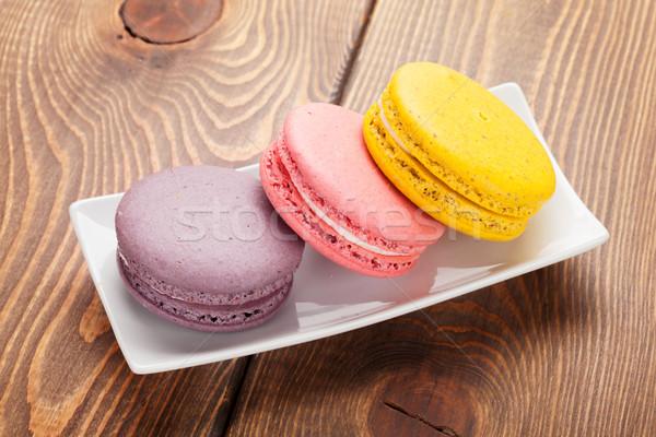 красочный macaron Cookies деревянный стол таблице цвета Сток-фото © karandaev