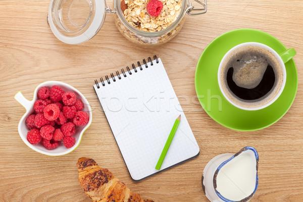 Egészséges reggeli müzli bogyók tej fa asztal Stock fotó © karandaev