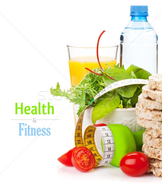 Foto stock: Cinta · métrica · alimentos · saludables · fitness · salud · aislado · blanco