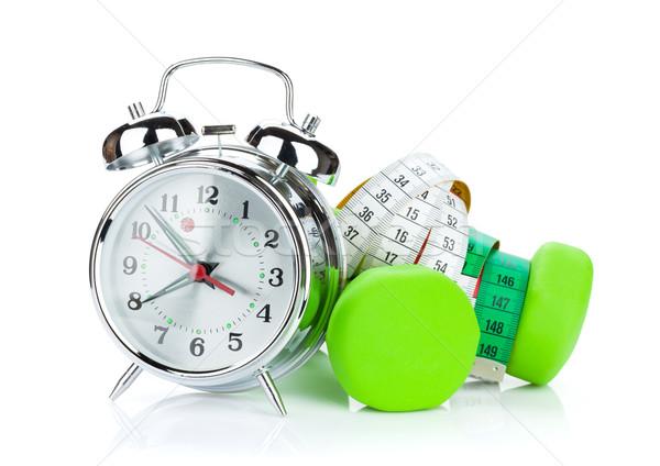 Dois verde fita métrica despertador fitness saúde Foto stock © karandaev