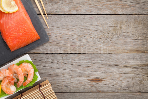 Fresh salmon fish and shrimps Stock photo © karandaev