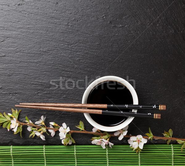 Japon sushi Çin yemek çubukları soya sosu çanak sakura Stok fotoğraf © karandaev
