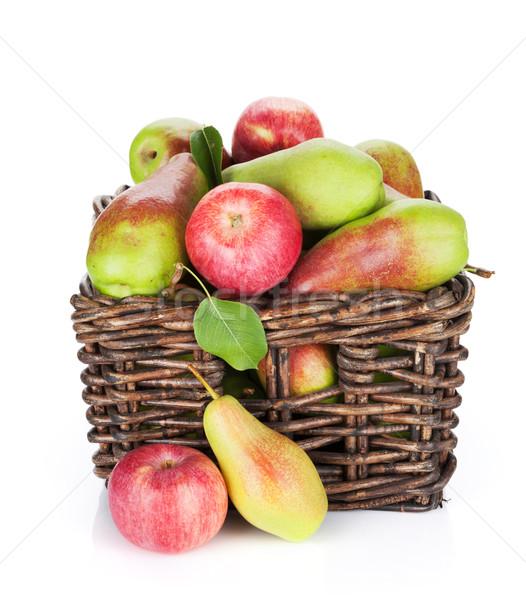 Peras maçãs cesta isolado branco maçã Foto stock © karandaev