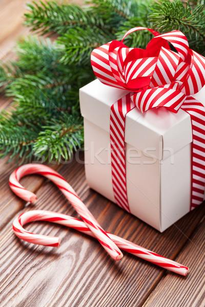 Рождества шкатулке конфеты тростник филиала Сток-фото © karandaev