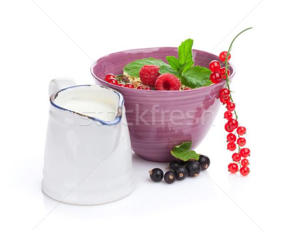 健康 朝食 ミューズリー ミルク 孤立した 白 ストックフォト © karandaev