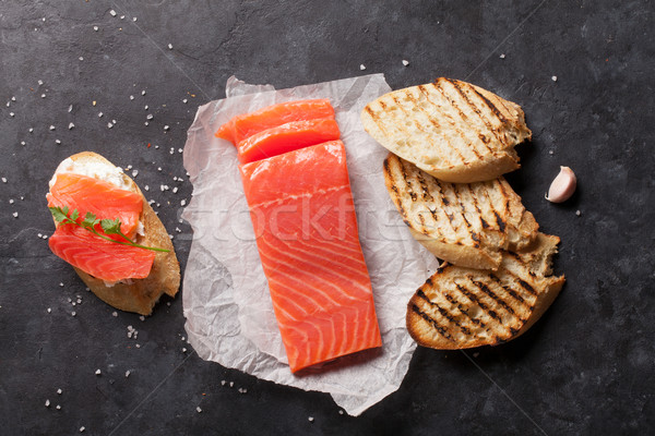 Sandwich toast with salmon cooking Stock photo © karandaev