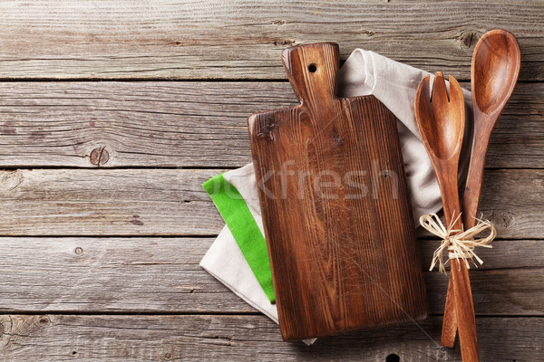 まな板 タオル 木製 台所用テーブル 先頭 ストックフォト © karandaev