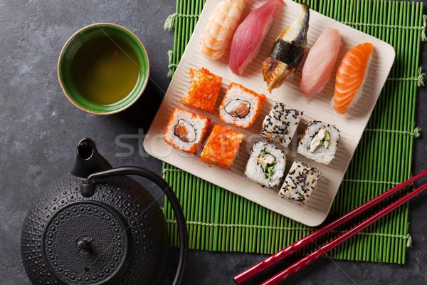 Ayarlamak sushi maki yeşil çay taş tablo Stok fotoğraf © karandaev