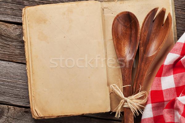 Blank vintage recipe cooking book and utensils Stock photo © karandaev