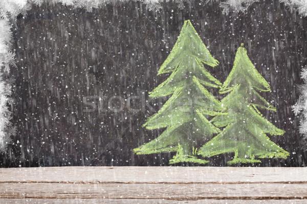 Photo stock: Noël · dessinés · à · la · main · noël · craie · bord