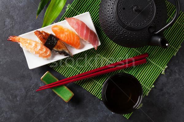 Set of sushi and green tea Stock photo © karandaev