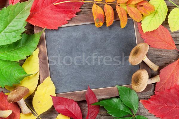 秋 黒板 キノコ カラフル 葉 先頭 ストックフォト © karandaev