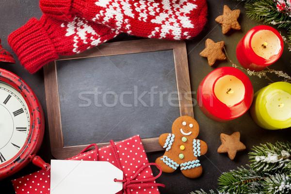 Christmas kerstmis wenskaart sneeuw decoratie Stockfoto © karandaev