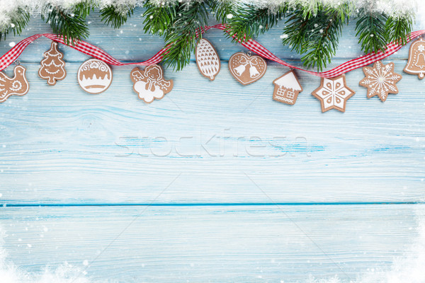 Christmas background with gingerbread cookies Stock photo © karandaev
