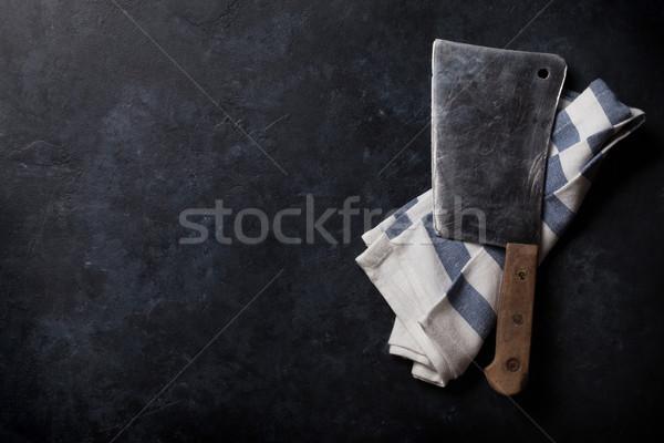 Hentes klasszikus hús kés kő asztal Stock fotó © karandaev