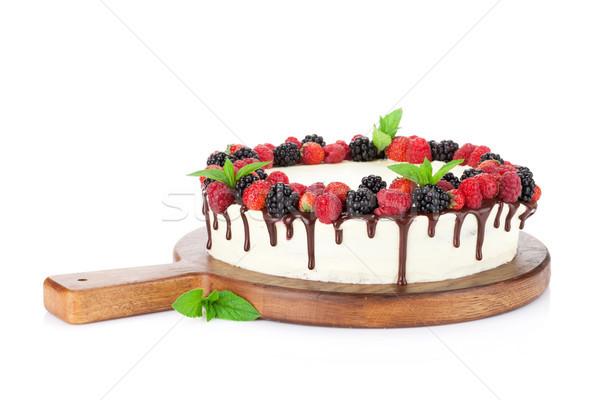 Bolo chocolate bolo de queijo isolado branco Foto stock © karandaev