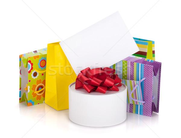 Stockfoto: Gekleurd · geschenk · zakken · vak · wenskaart · geïsoleerd