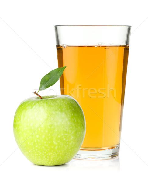 Sok jabłkowy szkła zielone jabłko odizolowany biały Zdjęcia stock © karandaev