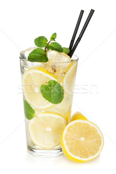 üveg limonádé citrom menta izolált fehér Stock fotó © karandaev