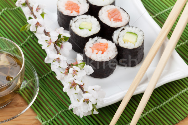 Japanese food and fresh sakura branch Stock photo © karandaev