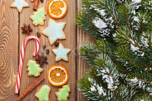 Stok fotoğraf: Noel · ahşap · kar · zencefilli · çörek · baharatlar