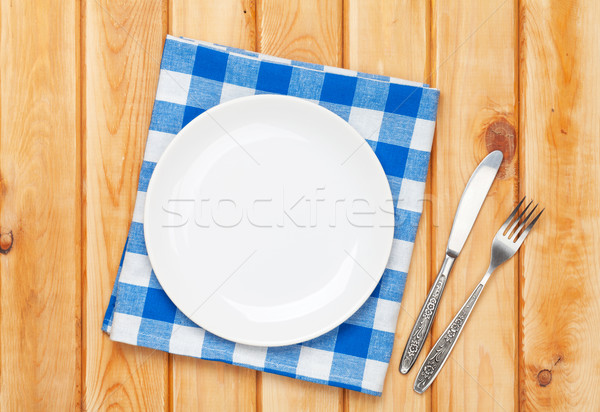 Photo stock: Vide · plaque · argenterie · serviette · table · en · bois