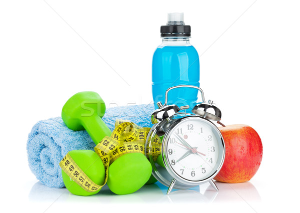 Iki yeşil şerit metre sağlıklı gıda çalar saat uygunluk Stok fotoğraf © karandaev