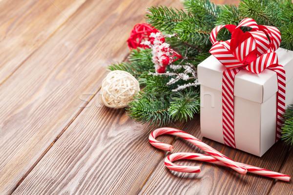Karácsony ajándék cukorka sétapálca faág ajándék doboz Stock fotó © karandaev