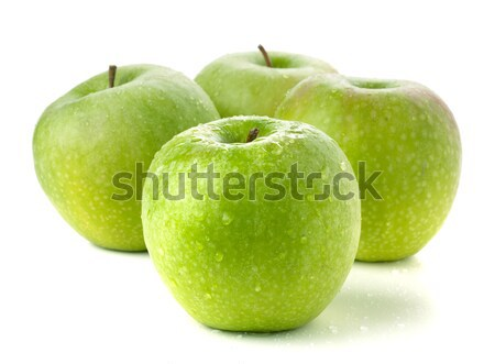 четыре зрелый зеленый яблоки изолированный белый Сток-фото © karandaev
