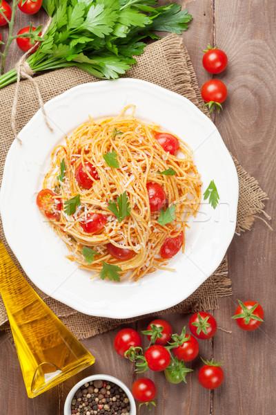 спагетти пасты помидоров петрушка деревянный стол Top Сток-фото © karandaev