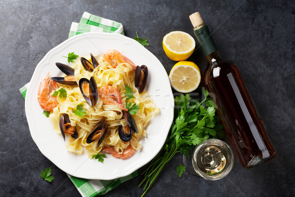 Stock photo: Pasta with seafood