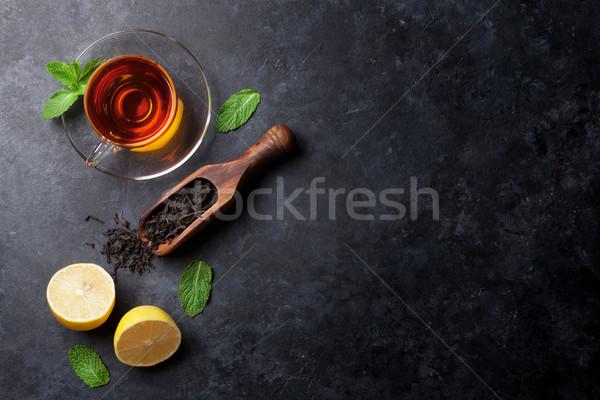 Foto stock: Taza · de · té · secar · té · cuchara · menta · limón
