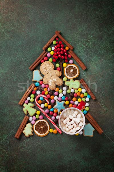 Dulces canela navidad árbol cookie árbol de navidad Foto stock © karandaev