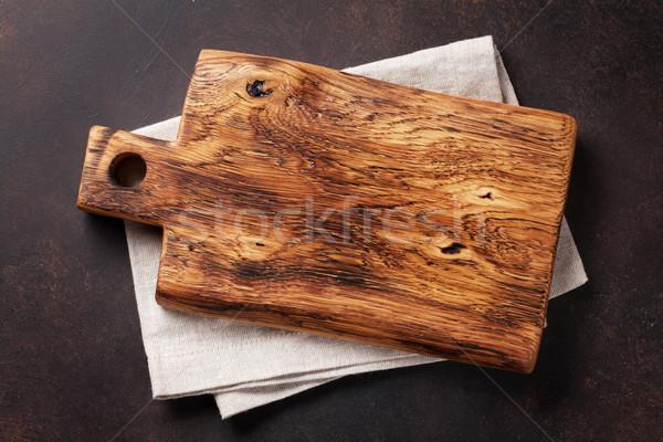 Planche à découper serviette pierre table de cuisine haut vue Photo stock © karandaev