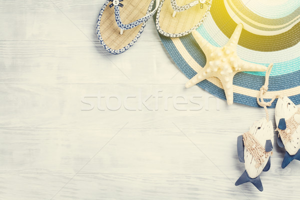 Strand Zubehör hat Seestern Holz Stock foto © karandaev