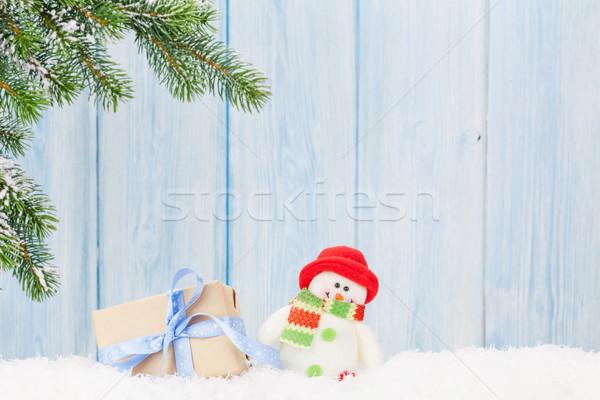 Natale scatola regalo pupazzo di neve giocattolo ramo Foto d'archivio © karandaev