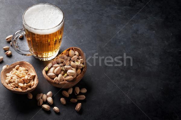 Bira fındık alman birası kupa taş Stok fotoğraf © karandaev