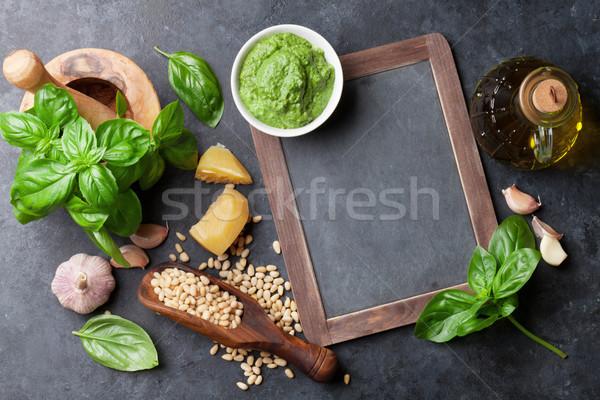 Pesto molho ingredientes cozinhar manjericão azeite Foto stock © karandaev