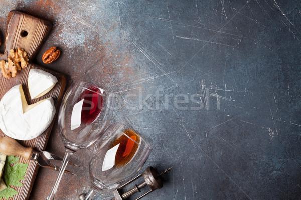 Vin noix fromages haut vue espace Photo stock © karandaev
