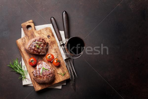 ızgara fileto biftek şarap cam Stok fotoğraf © karandaev