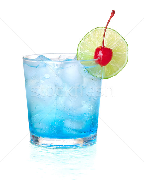 Blue alcohol cocktail with maraschino and lime Stock photo © karandaev