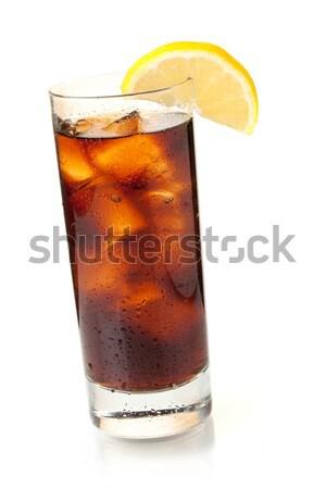 Cola verre isolé blanche boire Photo stock © karandaev