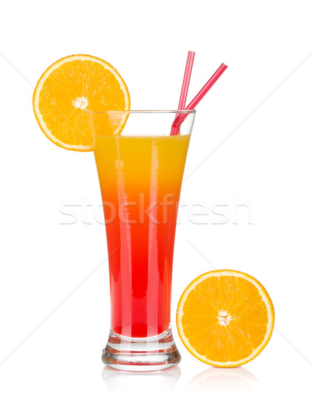 Tequila sunrise cocktail orange isolé blanche Photo stock © karandaev