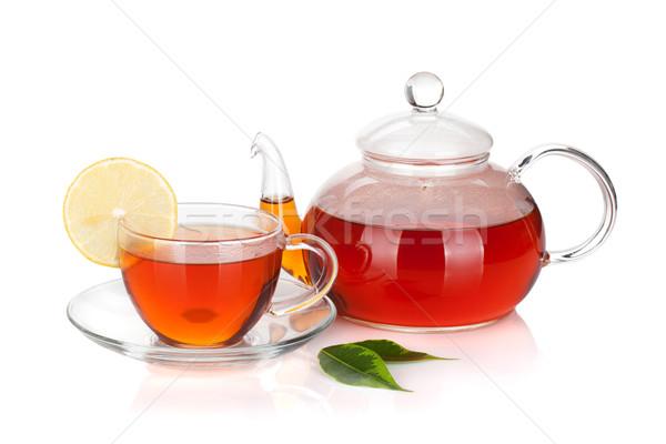 Glas theepot beker zwarte thee Stockfoto © karandaev