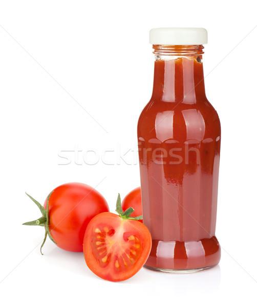 Paradicsom ketchup üveg érett paradicsomok izolált Stock fotó © karandaev
