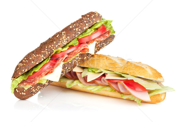 Fresh sandwiches with meat and vegetables Stock photo © karandaev